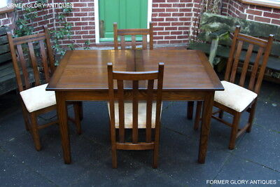 Old Charm Light Oak Kitchen Extending Dining Table Set & Four Upholstered Chairs