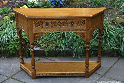 Old Charm Vintage Oak Canted Hall Phone Lamp Table Stand Sideboard Dresser Base