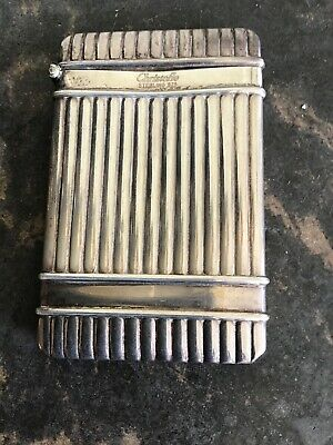 Vintage Sterling Silver Christofle Business Card Holder Stripe Decoration