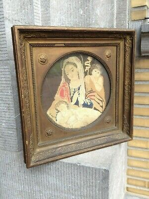 Antique 1829 Catholic Religious Embroidered Madonna With Child Jesus Wall Plaque