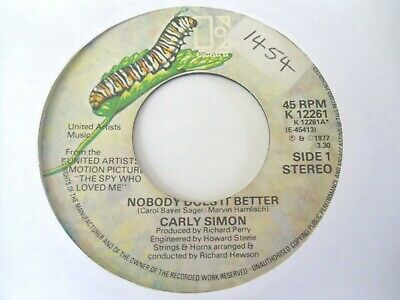 """Carly Simon - Nobody Does It Better  7""""  77  Vg-"""
