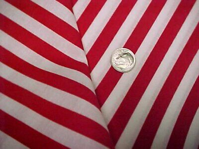 """Vintage Cotton Fabric RED White Stripes Quilt Sew Material Estate Craft 44"""" 2 Yd"""