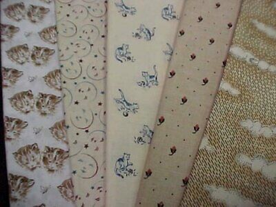 5 Cotton Quilt Fabric FQ Fat Quarters 18 x 22 Pack Prints Mixed LOT RJR Mumms