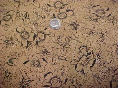 Cotton Fabric Quilt Sew Material 2 Yds Sew Black Roses on Brown Print Estate