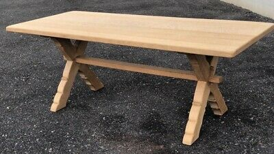 Antique Solid Oak Refectory Farmhouse Kitchen Dining Table