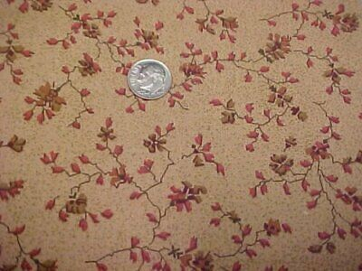 Cotton Fabric Quilt Sew Material 2 Yds Sew Floral on Brown Print Benartex Craft