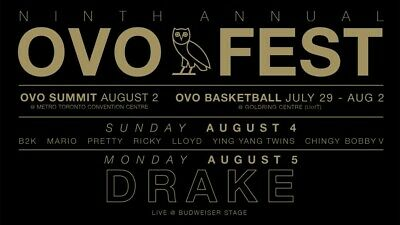 Drake 9Th Annual Ovo Fest August 4, 2019 Section 405 Row L 2 Tickets