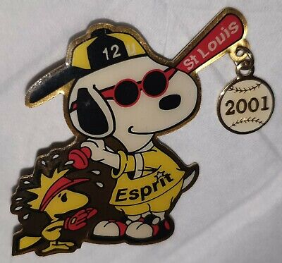 Grand Pin's Pin Du Chien Snoopy Et Woodstok Baseball Esprit St Louis Usa Rare