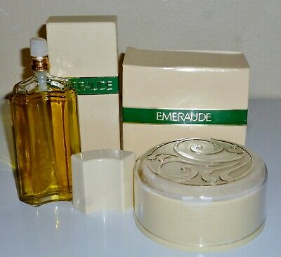 Vintage Coty EMERAUDE 4 oz Dusting POWDER and 2.5 oz COLOGNE Spray full UNUSED