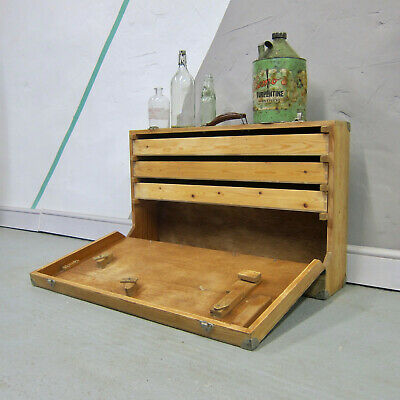 Carpenters Vintage Tools Box Trunk Chest Pine Drawers Industrial Furniture Wood