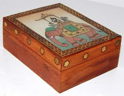 Interesting And Beautiful Hardwood Box With Brass Inlay And Elephant Painting