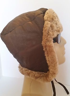 Mens Leather Aviator Finished Real Sheepskin Flying Hat Push Clip Fastening