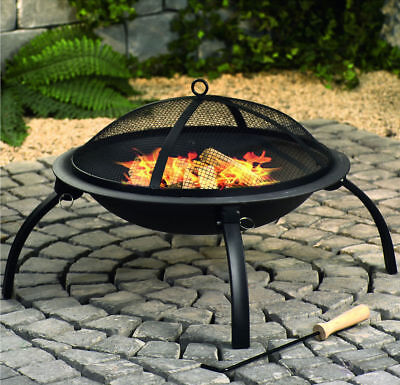 Portable Royal Garden Patio Wood Log Burner Folding Leg Fire Pit + Cooking Grill
