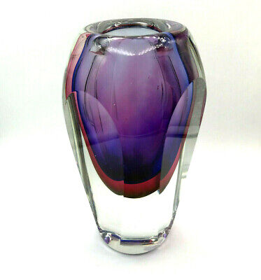 Seguso Mid-Century Heavy Hand Blown Studio Art Glass Vase