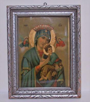 Madonna Holy Mother & Infant Child Antique Print Picture In Wood Frame Art Deco