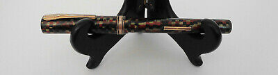 "Vintage Diamond Red/Black/Gold Checkered Fountain Pen 5 1/4"" & Simplex #8 Nib"