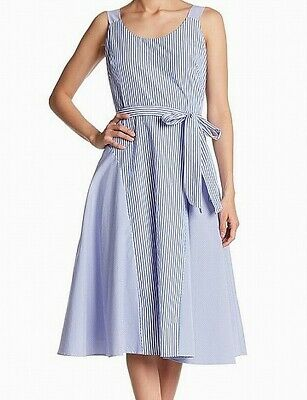 Gabby Skye NEW Blue Womens Size 14 Pinstriped Fit & Flare A-Line Dress $98- 774