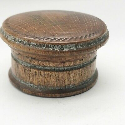 Antique Victorian Treen Wooden Patch Snuff Pill  Box Wood