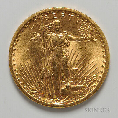 1908 St. Gaudens 20$ Double Eagle No Motto Gold Coin - Good Condition
