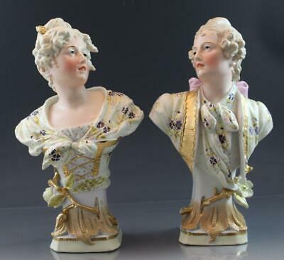 Antique Art Nouveau French Bisque Porcelain Pair of Busts Aristocrats Garnitures