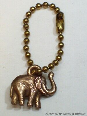 Lucky Elephant Charm Keychain Trunk Up Copper Tone Metal Clad Good Luck Key Ring