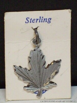 Sterling Silver Maple Leaf Canada Vintage Canadian Charm BMCO Pendant on Card