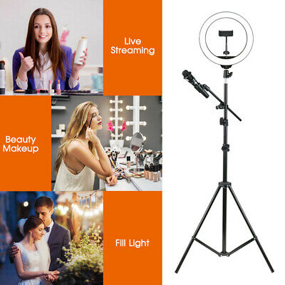 "10""120cm LED Ring Light with Stand Dimmable LED Lighting Kit Makeup Youtube Live"