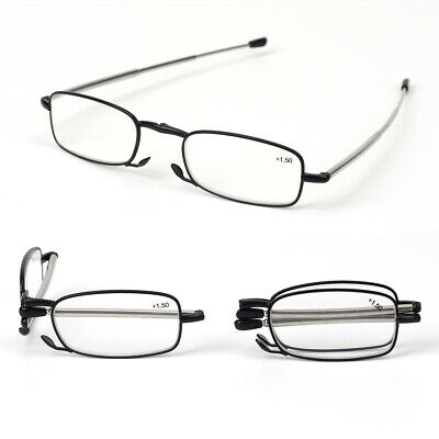 Reading Glasses 2 Pair Reader Compact Folding Magnify Glasses Black and Gunmetal
