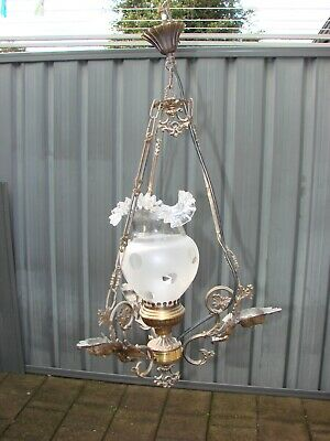 Antique Art Deco Ceiling Light Bronze with Angels & Crystal Lamp Shade