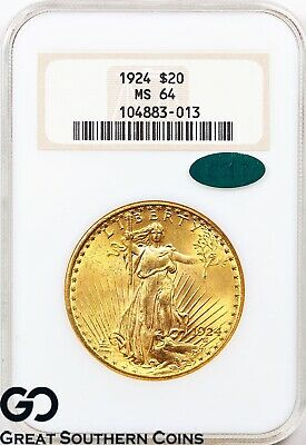 1924 Double Eagle, $20 Gold St Gaudens NGC MS 64 ** CAC Cert., Premium Quality!