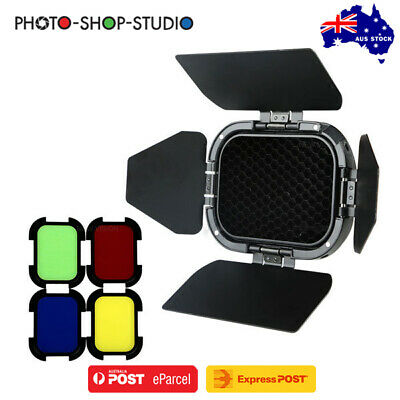AU STOCK *Godox BD-07 Witstro Barndoor with Honeycomb & 4 Colour Gels for AD200