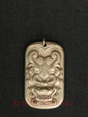 Collected Chinese Tibet Silver Carving Dragon Statue Pendant Necklace Decoration