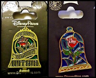 Disney Parks 2 Pin Lot BATB Stain glass rose + mirror hinged Beauty & the Beast