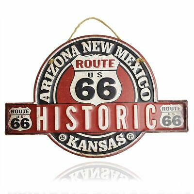 Historic Route 66 Retro Vintage Embossed Metal Tin Sign, 13x10 inch