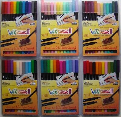 LOT OF 6 SETS Marvy Le Plume II Markers Double Ended 12 pc sets Brand NEW!