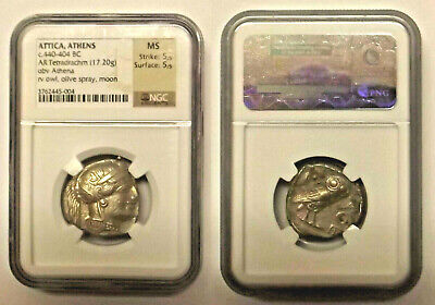 "Ancient 440-404 Bc (Attica, Athens) Greek ""Tetradrachm"" Silver Coin Ngc Ms 5/5"