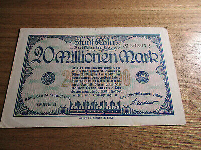 Germany Inflation Note 1923 20 Million Mark