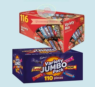 226 PCS: Mars 116 VARIETY MIX + Cadbury 110 VALUE JUMBO Pack Chocolate Wholesale