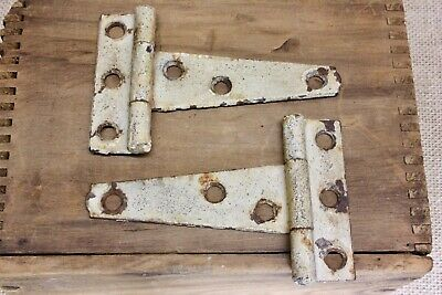 "2 old cabinet door 3 3/4 x 2 1/2"" strap Tee hinges tool box vintage shed rustic"