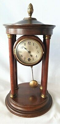Junghans Portico Clock HAC 1920s Key Pendulum Wooden Antique Column