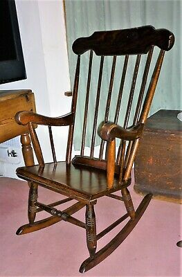 Magnificent Antique Late Victorian Edwardian C1900 Cottage Style Rocking Onthecornerstone Fun Painted Chair Ideas Images Onthecornerstoneorg
