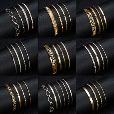Fashion DIY Simple Women Gold/Rose Gold Flower Carved Bangle Jewelry Party Gift
