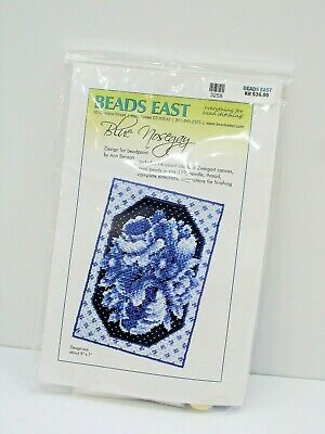 Beads East, Bead Stitching Kit, Blue Nosegay, 5 X 7 Inches, New, Bead Point