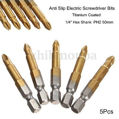 5pcs 50mm Long Screwdriver Bits Titanium coated Pozi drive Bit Set  1/4""