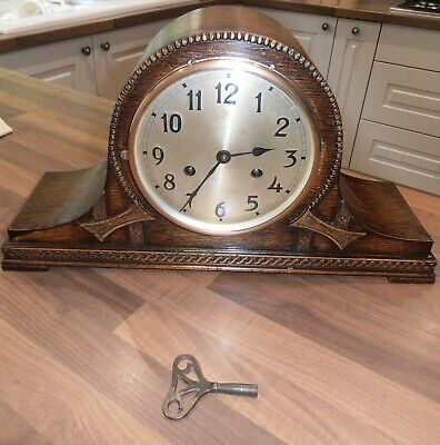 Antique Oak Cased Chiming Mantel Clock