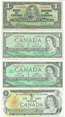 1937 1954 1967 & 1973 Canada Canadian 1 ( One ) Dollar Bank Notes