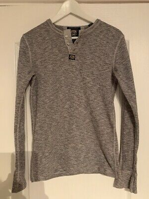 Superdry Mens Heritage Grandad Long Sleeved T-Shirt - Size Small