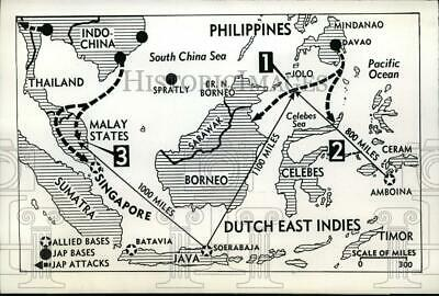 1942 Press Photo Map of US bombings on Japanese positions on Dutch East Indies