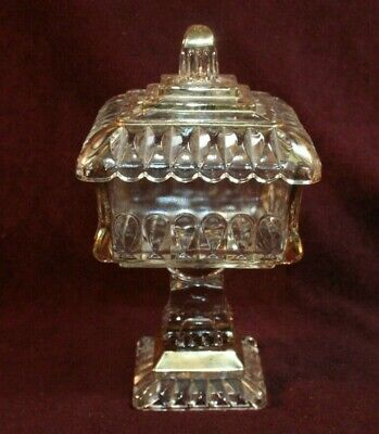 EAPG Covered Compote w/Gold- CRYSTAL WEDDING Pattern - Adams Glass  ca. 1890