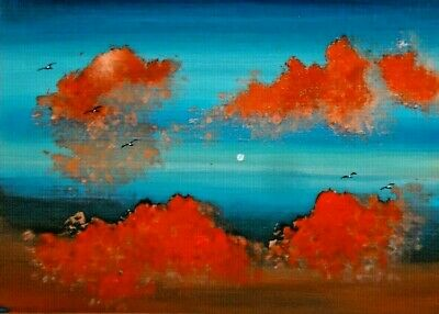 ACEO ORIGINAL Clouds Moon Cloudscape Birds Collectible Painting Miniature HYMES